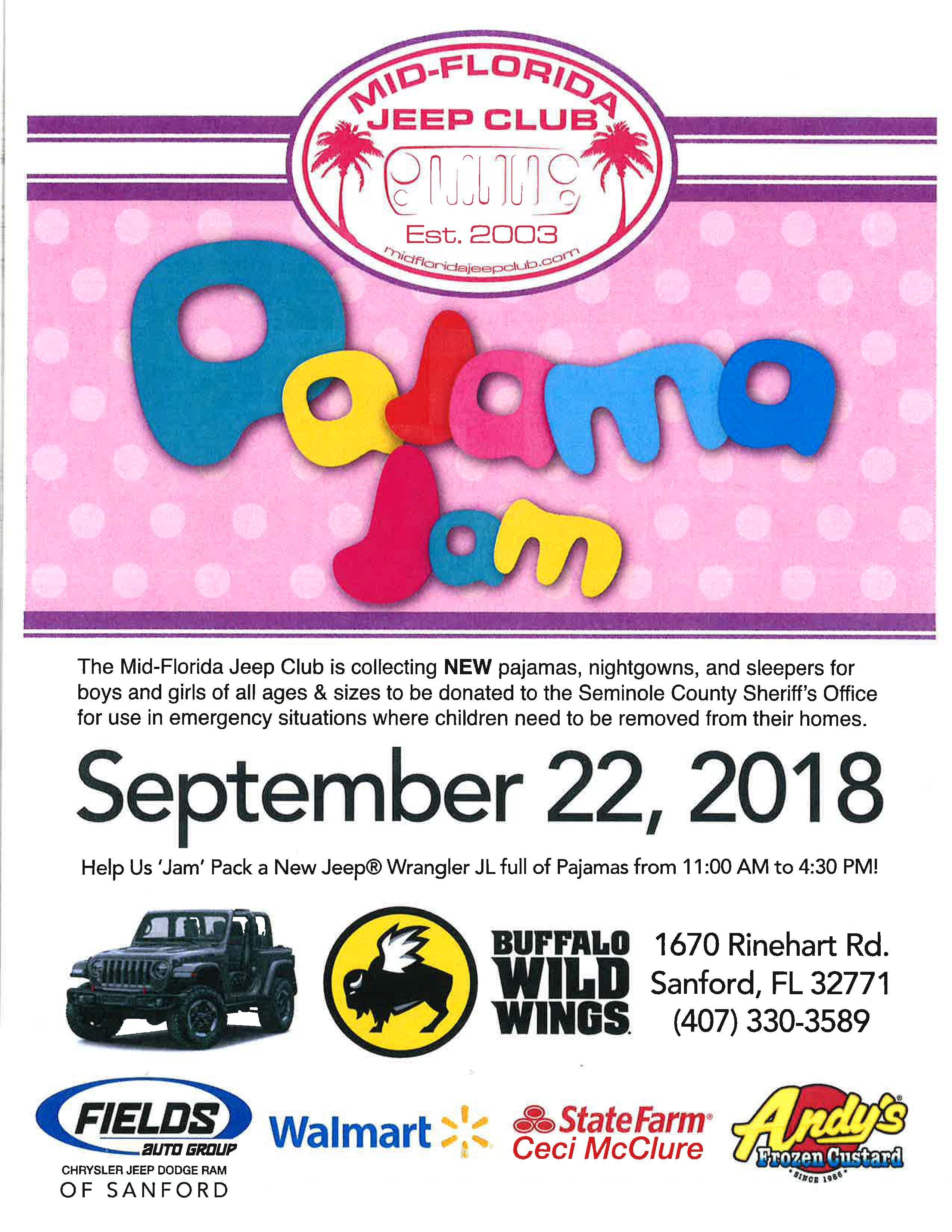 Fields Jeep Sanford : fields, sanford, Florida, Buffalo, Wings, (Sanford,, #PajamaJam,