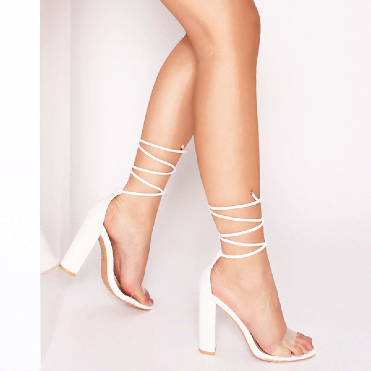 01f2d2aecb3 Harley White Transparent Lace Up Block Heels : Simmi Shoes | Shoes ...