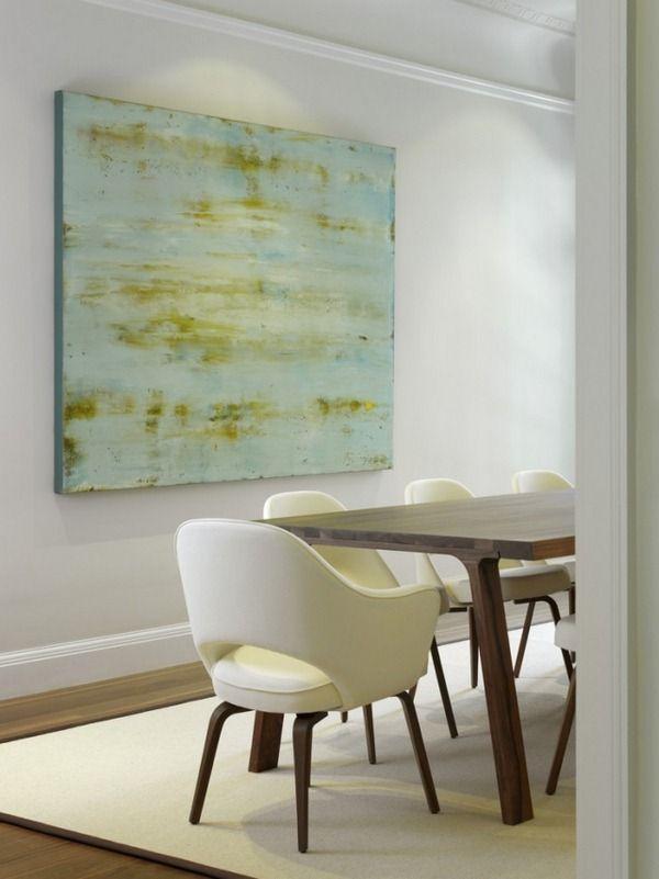 minimalistische kunst esszimmer gemaelde blau gruen nuancen - wohnzimmer bilder abstrakt