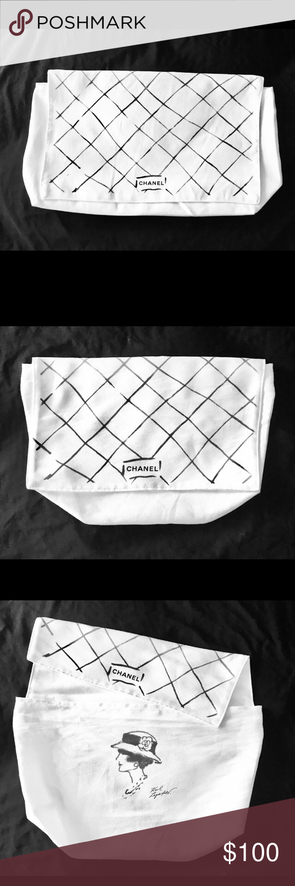 936e610c81c6 CHANEL 15 x 8 x 4 Karl Lagerfeld White Dustbag Chanel i100% Authentic White  Karl Lagerfeld Limited Edition Flap dustbag with extra top pocket for the  ...