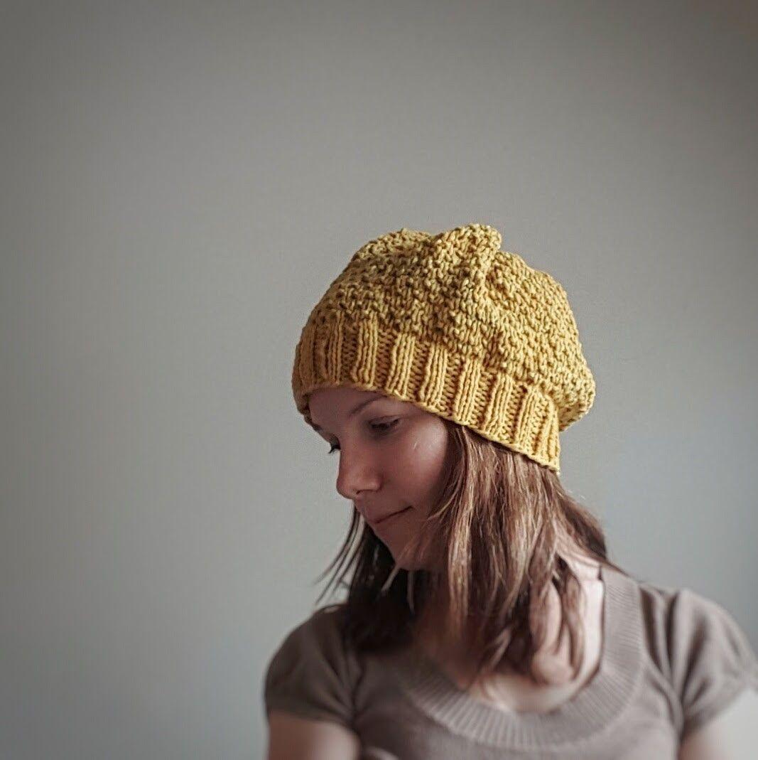Poseidon Broken Seed Stitch Knit Hat Kit ~ Mustard + Wheat Fields ...