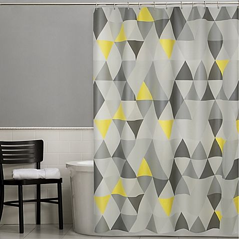 Featuring A Unique Geometric Design The Vertex PEVA Shower Curtain Adds Stylish Touch To Your Bathroom Adorned With Grey And Yellow Triangles