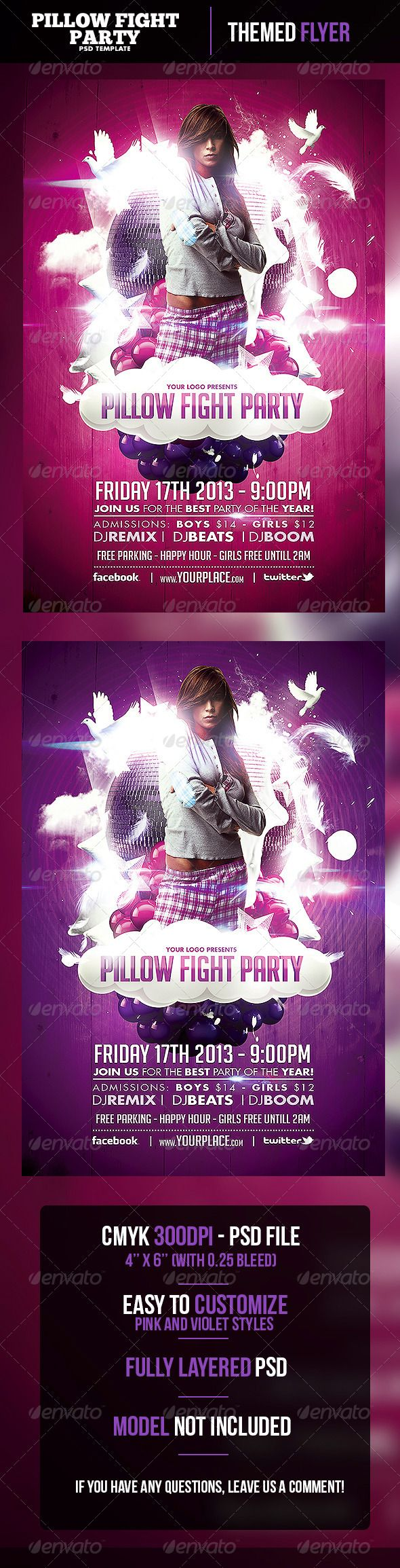 pillow fight party flyer template graphicriver pillow fight party