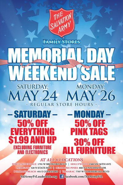 The Salvation Army Family Stores Memorial Day Weekend Sale Army Family Memorial Day Salvation Army