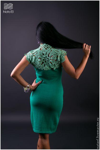 """Платье """"Green Leaves"""" - ярко-зелёный,цветочный,платье,вязаное платье,Коктейльное платье"""