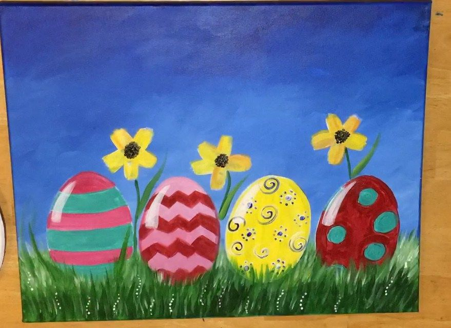 Easter Canvas Painting How To Paint An Easter Egg Landscape Easter Canvas Painting Easter Canvas Easter Canvas Art