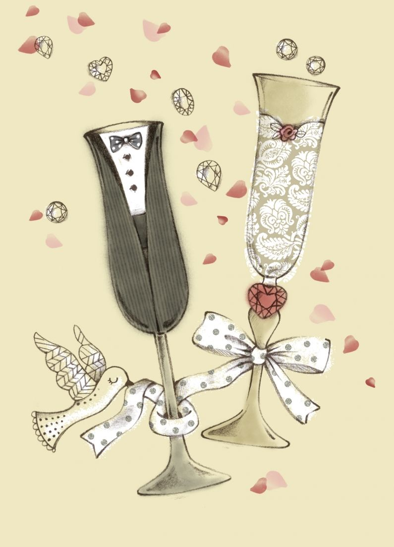 Рисунки открытки на годовщину свадьбы