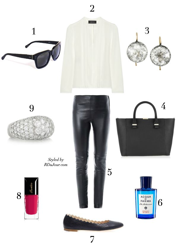 Outfit of the Day No.331 Derek Lam Blouse Olivia Collings Jewelry Victoria Beckham Tote Bag Chloe Lauren Ballet Flats