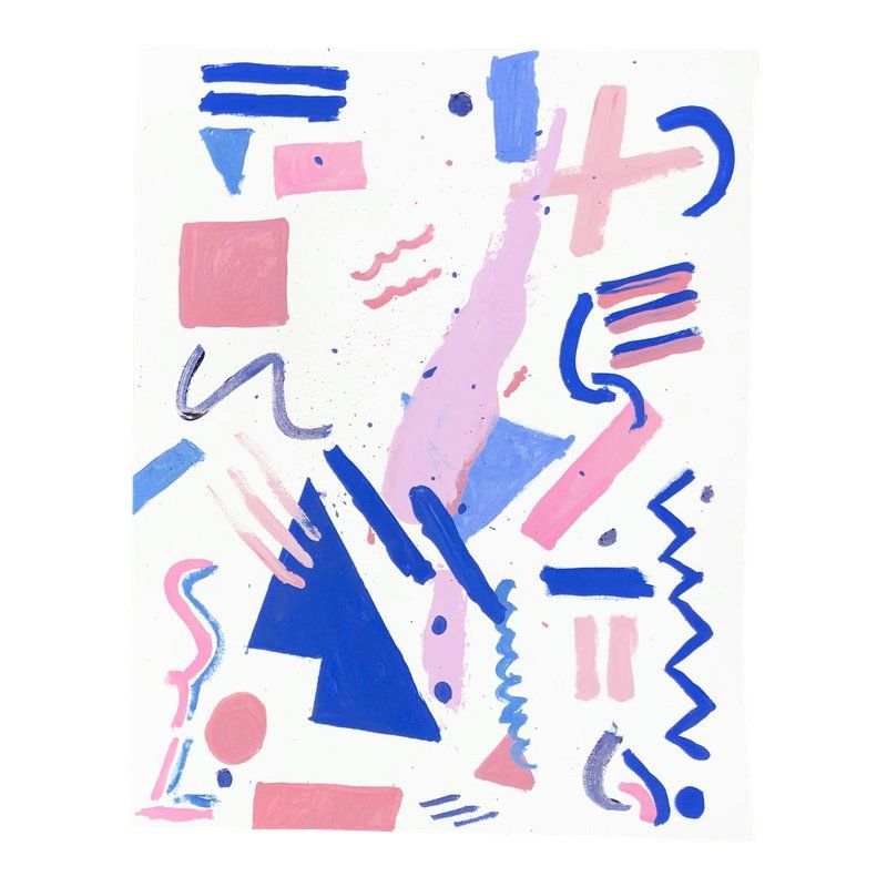 Memphis Style Pink and Blue Abstract, 2018   Products