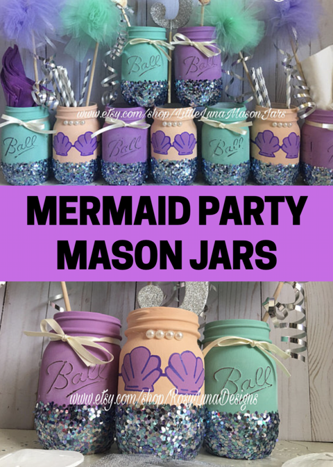 Purple and teal mermaid mason jar party set, birthday party ...