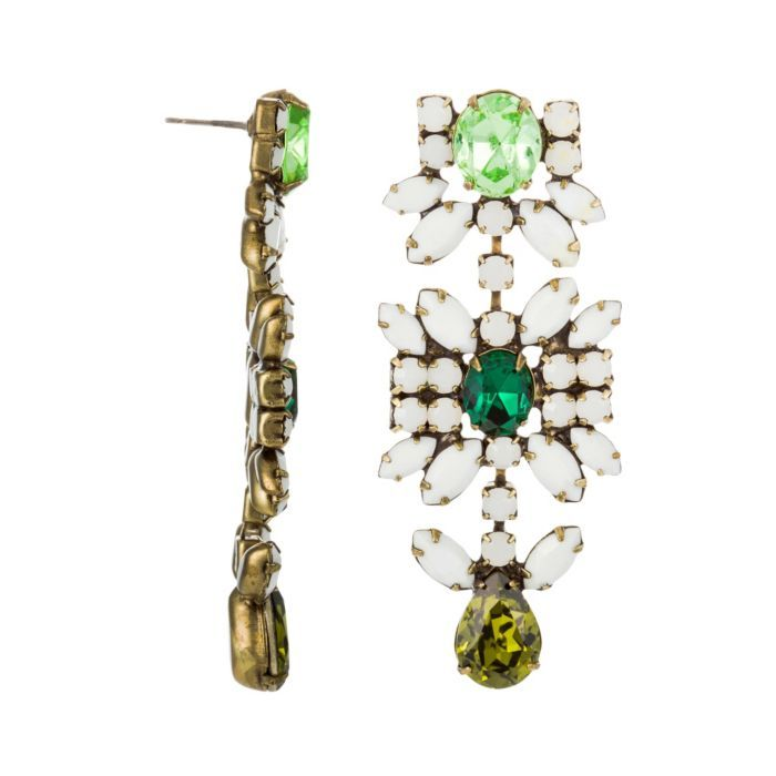 Dannijo Lynnie Gunmetal Plated Brass Earrings With Oval  Pear Multicolor Crystals featured in vente-privee.com