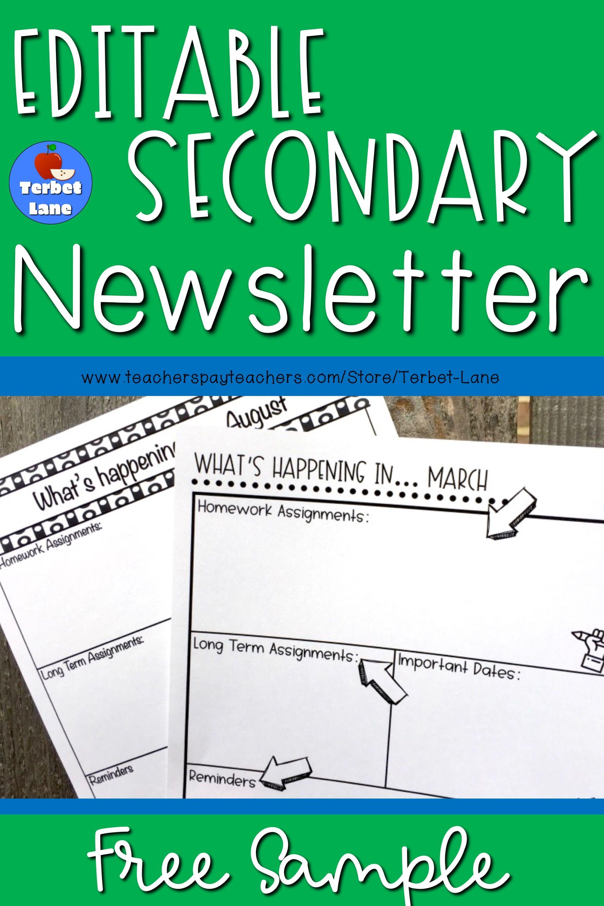 Free Secondary Editable Class Newsletter Template Sample School