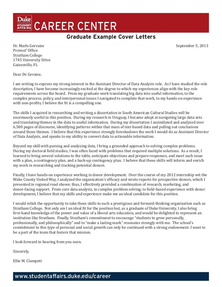Graduate Student Example Cover Letters by Duke University Career