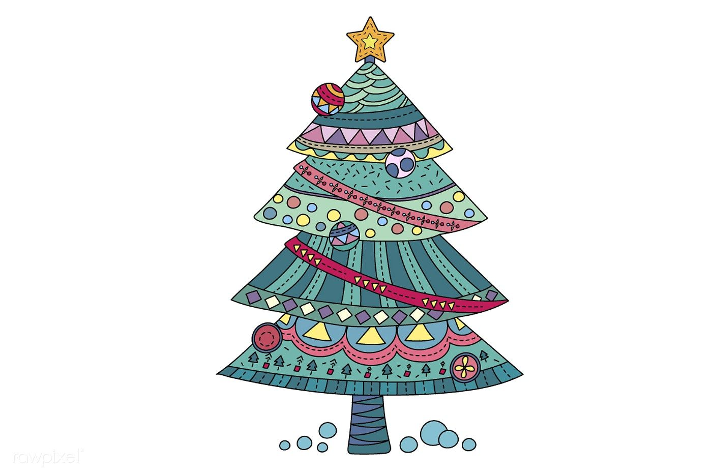 Christmas Tree Vector Free Image By Rawpixel Com Christmas Coloring Books Christmas Vectors Free Christmas Greeting Cards