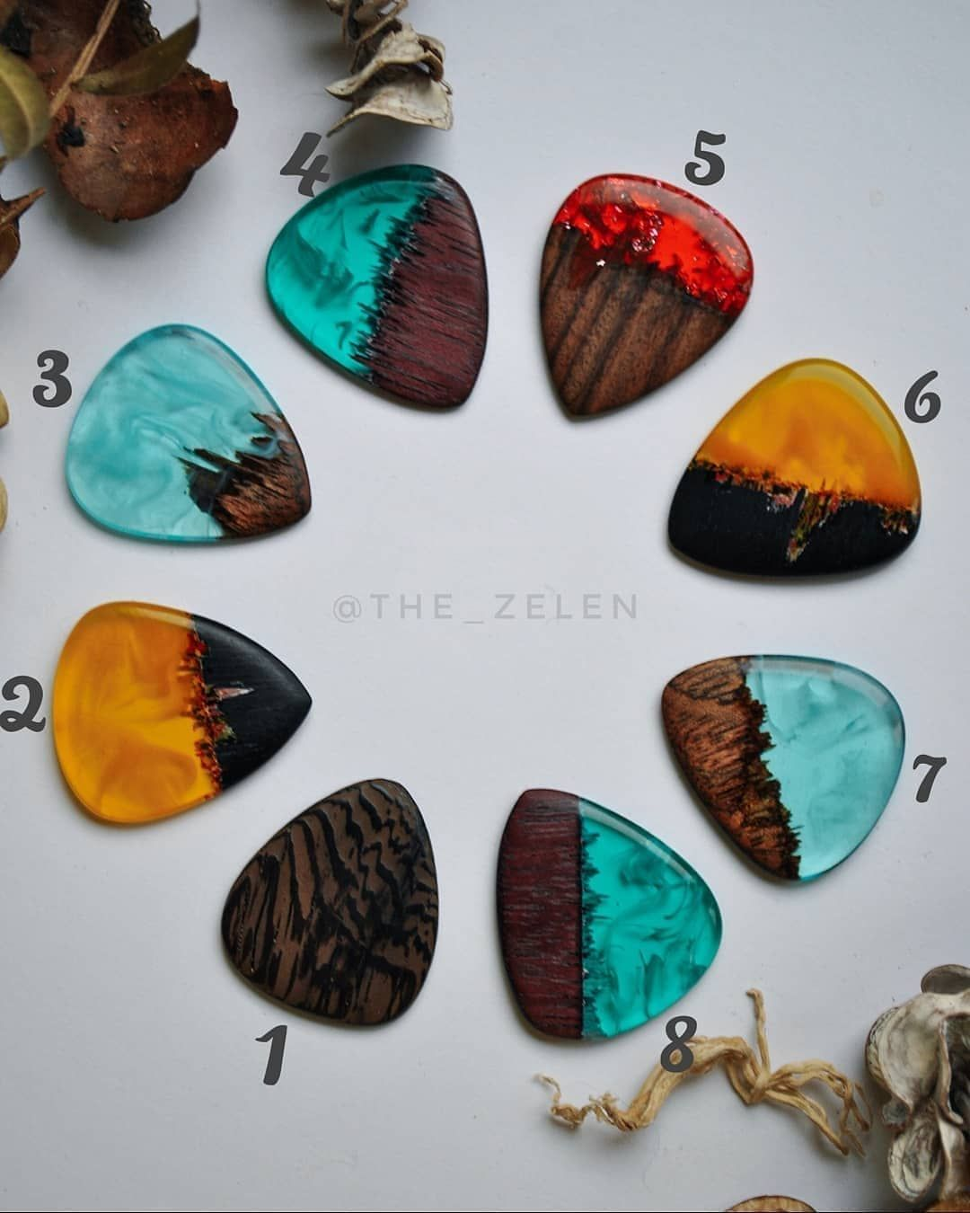 Epoxy Diy Tutorials On Instagram Which Of These Guitar Picks By The Zelen Do You Like The Most Pi Guitar Picks Diy Guitar Pick Jewelry Guitar Picks