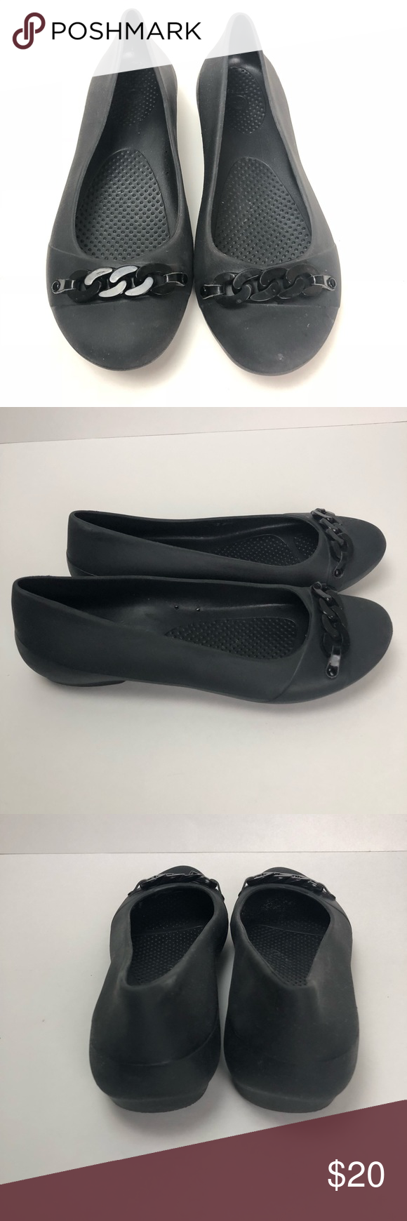 a0d66d79c Embellished Crocs work flats size 9W Ion perfect condition maybe worn once  or twice. No flaws. Black croc flats with chain detail. Size 9W. CROCS  Shoes ...