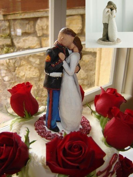 USMC cake topper. Repainted Willow Tree figurine but have it AF ...