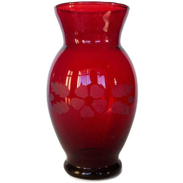 Royal Ruby Vase Anchor Hocking Red Glass Vase Etched Flower