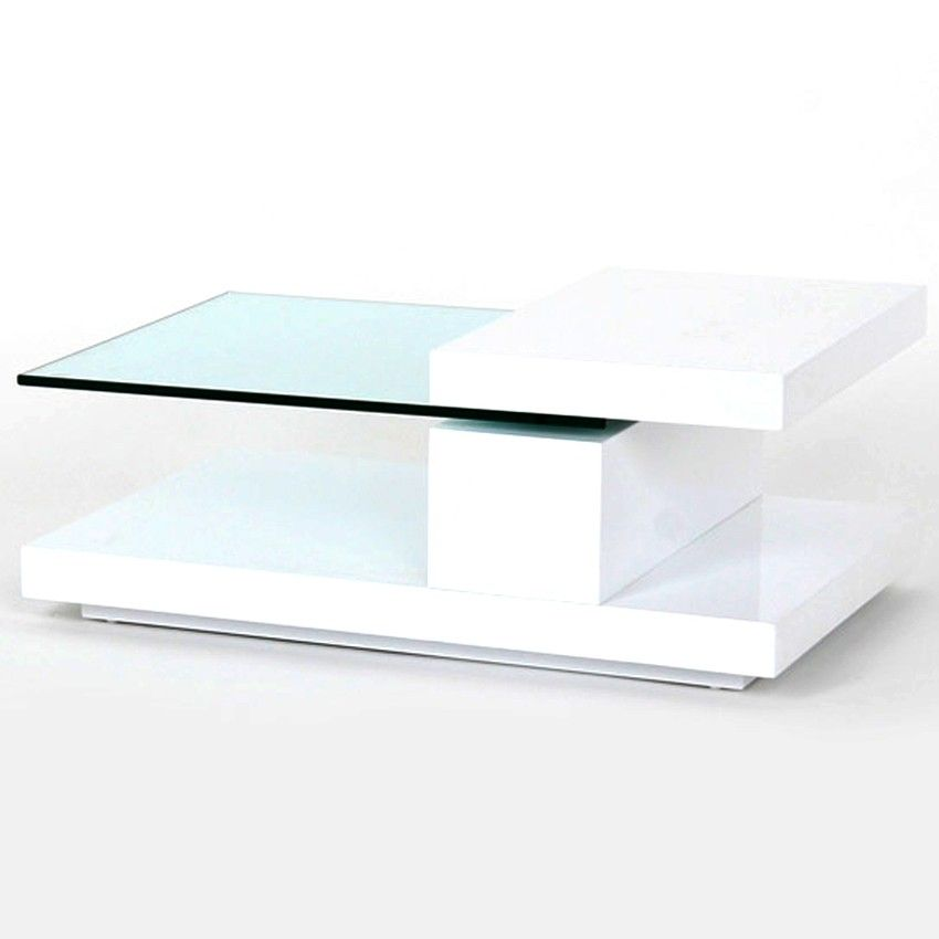 Beau Modern Coffee Table With Tempered Glass Top That Rotates 360 Degree   White  High Gloss Finish Base   Open Bottom Shelf Overall Dimension 35 X 23 X Box  ...