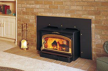 Wood Burning Stove In Fireplace Almost Identical To What We Now Have But Our Surround Is Painted White Wood Fireplace Inserts Stove Fireplace Wood Insert