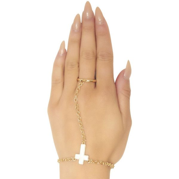 Cross Pendant Hand Jewelry (135 MXN) ❤ liked on Polyvore featuring jewelry, nails, rings, accessories, wet seal, wet seal jewelry, pendant jewelry, cross charms and cross pendants