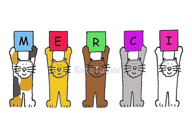 Merci Cartoon Cats Cute Thank You Cards Cartoon Cat Old Birthday Cards