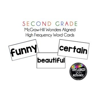 McGraw-Hill Wonders 2nd Grade High Frequency Word Cards
