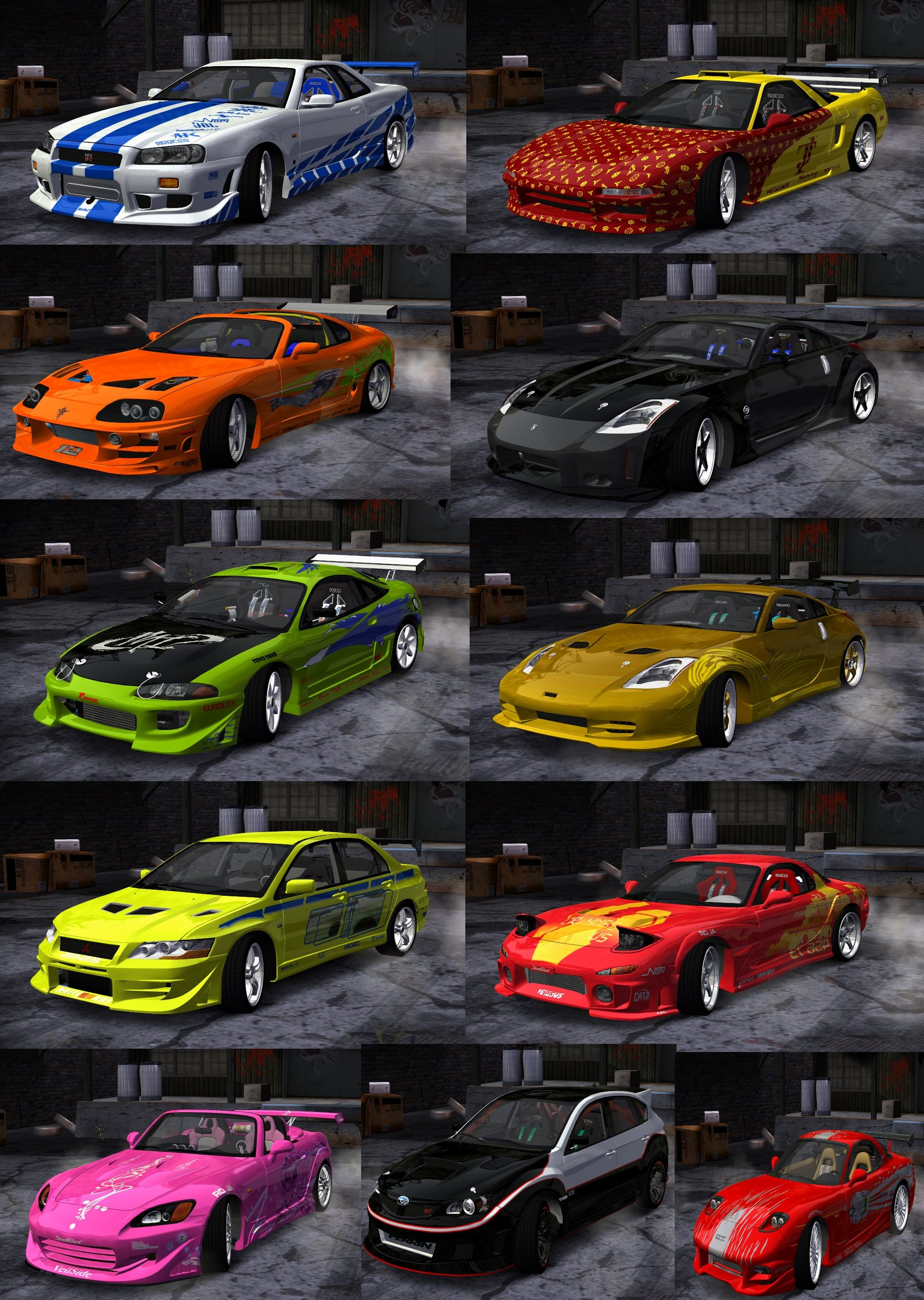 Need For Speed Most Wanted Global Fast Furious Car Pack Car