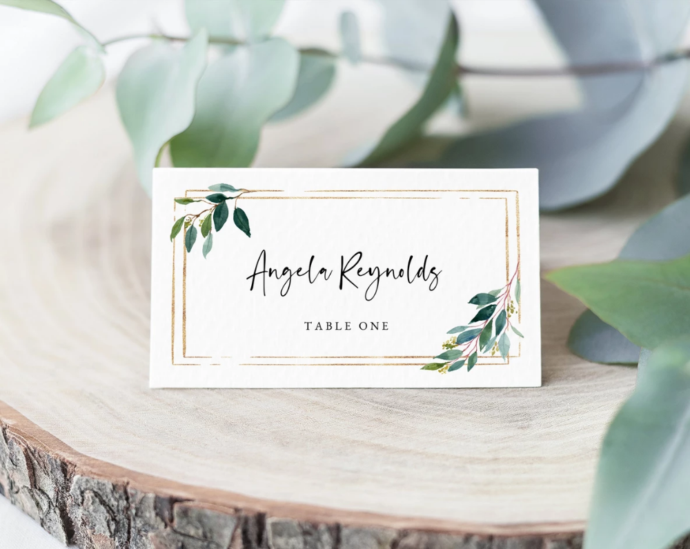 Greenery Wedding Place Cards Template Seating Card Wedding Table Cards Printable Wedding Tent Cards Instant Download Templett W28 Card Table Wedding Wedding Name Cards Wedding Table Name Cards