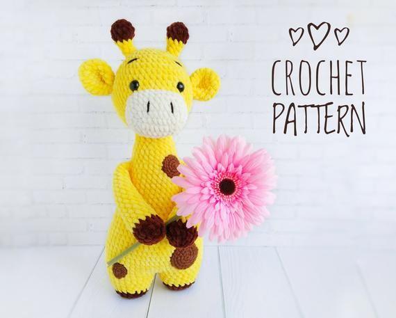 AMIGURUMI Giraffe pattern - Crochet giraffe toy PDF pattern - Knit Stuffed Toys for baby - Plush Giraffe pattern - Crochet animal pattern #crochetgiraffepattern