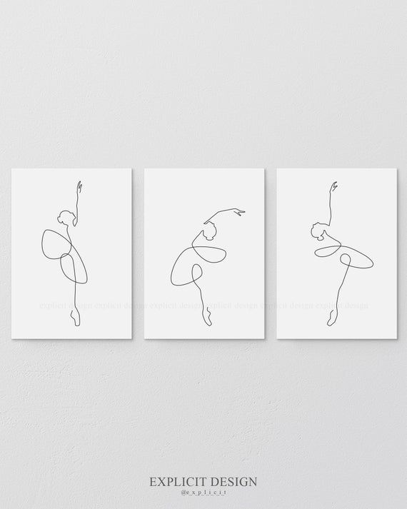 Printable Abstract Ballet Set of 3, One Continuous Line Print, Dancing Artwork, Original Minimalist Dance Poster, Drawing Wall Art Gallery.