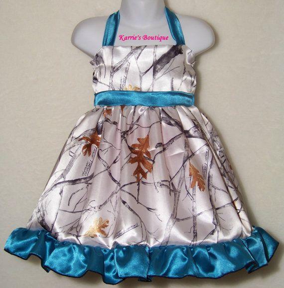 642f4a43d2d5d Camo Flower Girl Dress ~ Snow Camo + Teal Blue ~ Satin ~ Halter ~ Wedding