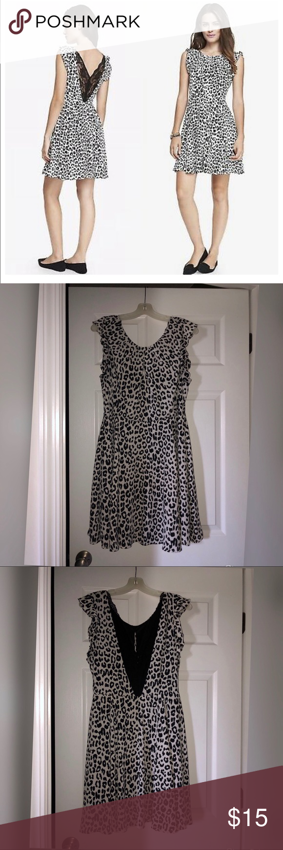 Express Black And White Leopard Print Dress Fit And Flare And Zips Up The Back I Do Not Know The Size Of This D Leopard Print Dress Print Dress Clothes Design [ 1740 x 580 Pixel ]