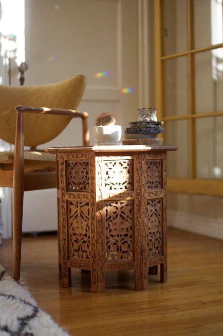 Moroccan Table from Lauren's grandmother who was a healer with her hands. In the home of Lauren Spencer King, LA