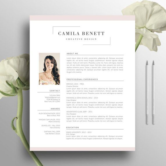 Modern Resume Template, Cover Letter, US Letter, A4, Word, CV