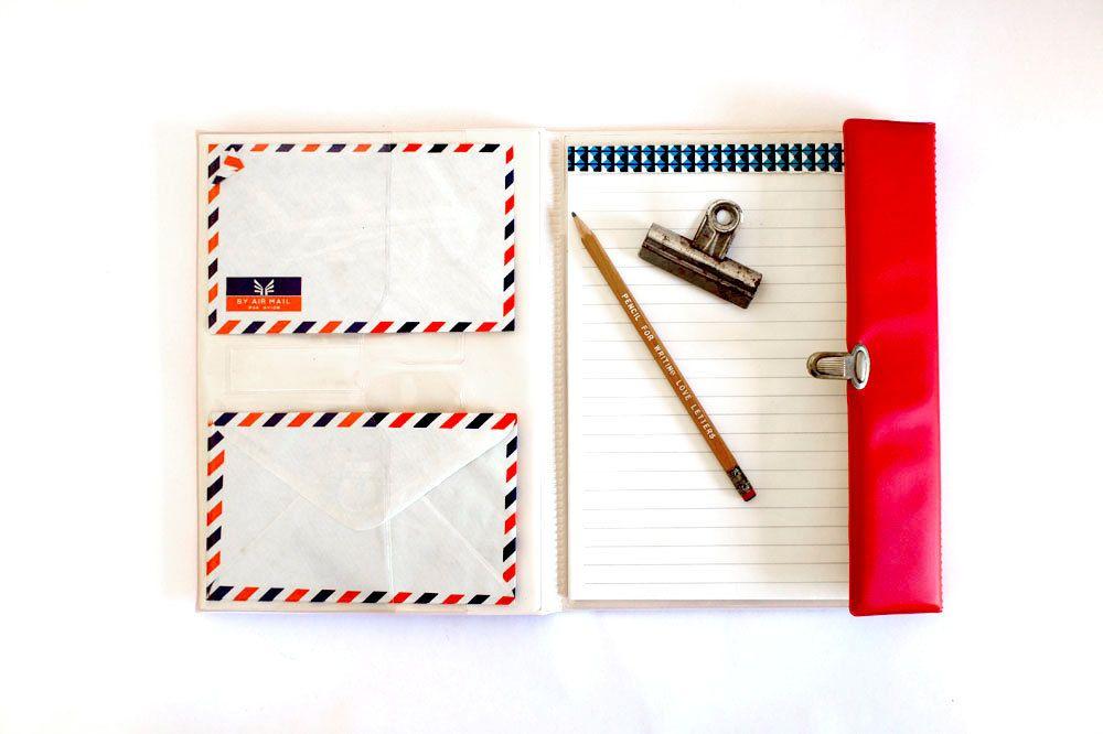 Vintage Airmail Letter Set  Write Back Soon    Letter