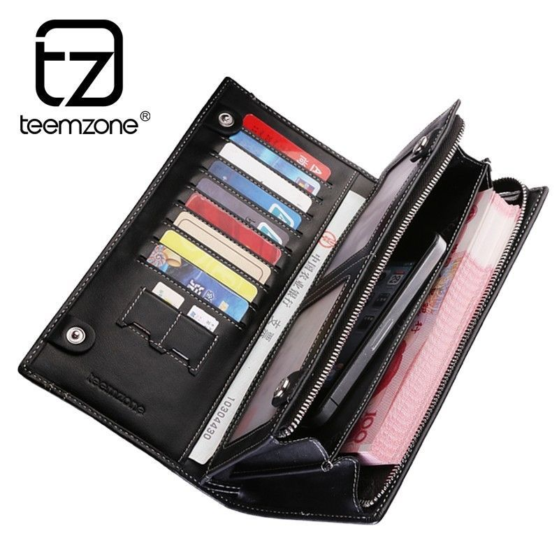 Genuine leather bifold men wallet casual brand checkbook