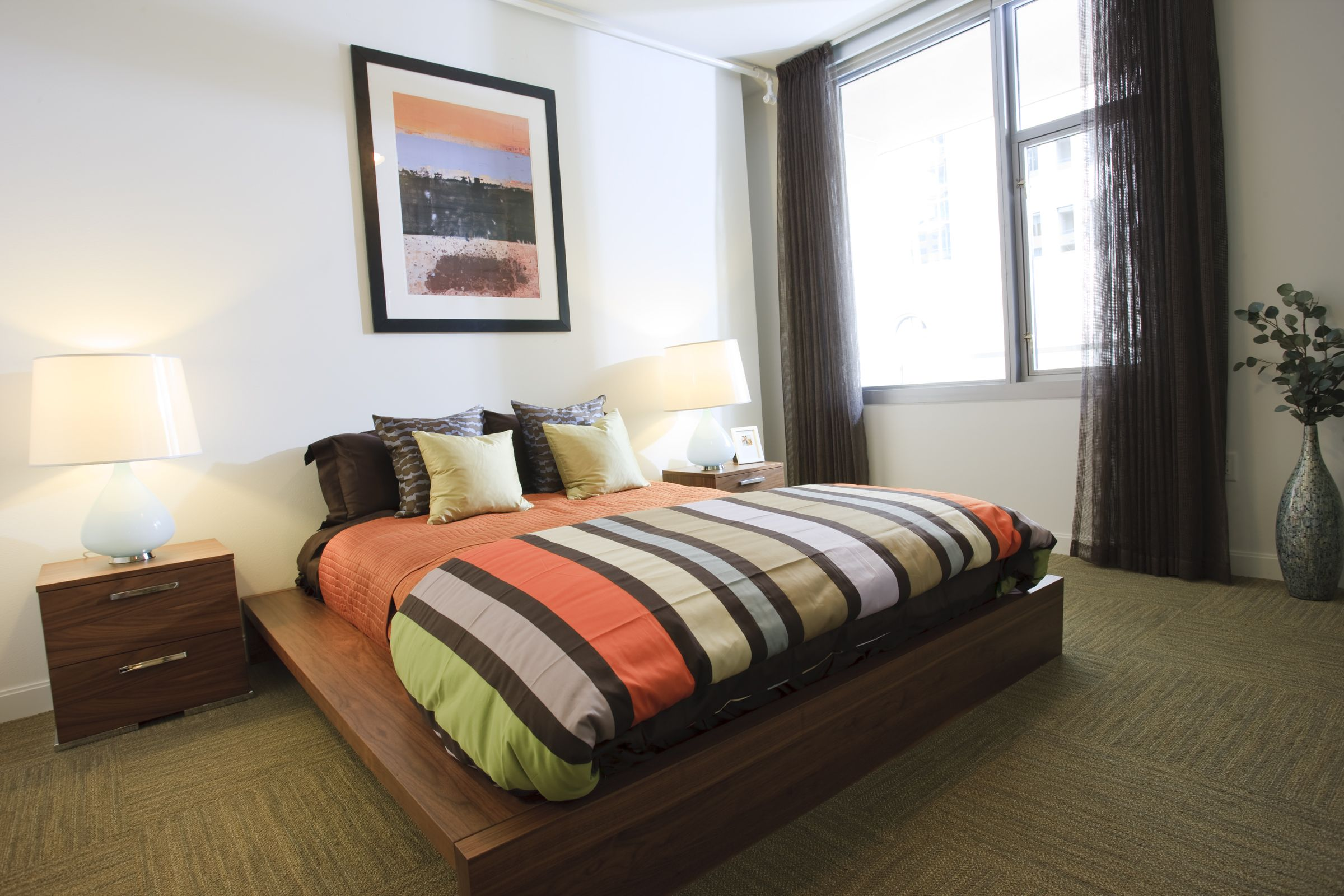 Model bedroom at The Element at Mercantile Place
