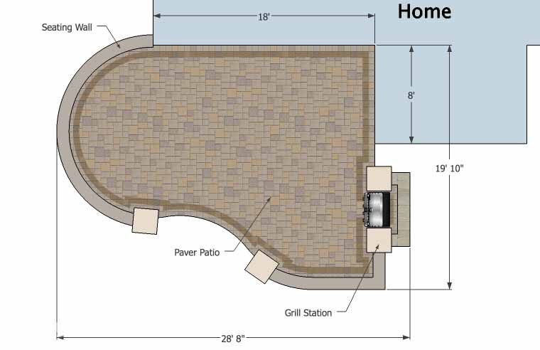 Cheap Backyard Patio Design with Grill Station   395 sq ft   Download Installation Plan, How-to's and Material List @Mypatiodesign.com