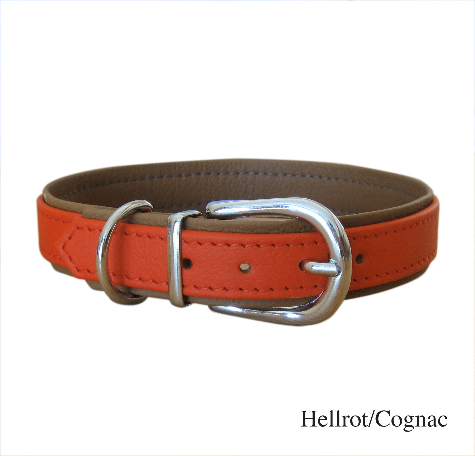 Halsband Basic, hellrot-cognac http://www.hundeleben-exklusiv.de/products/SCHOeNER-GASSI/Halsbaender-Leinen/Leder/Hundehalsband-Basic-in-vielen-Farbkombis.html
