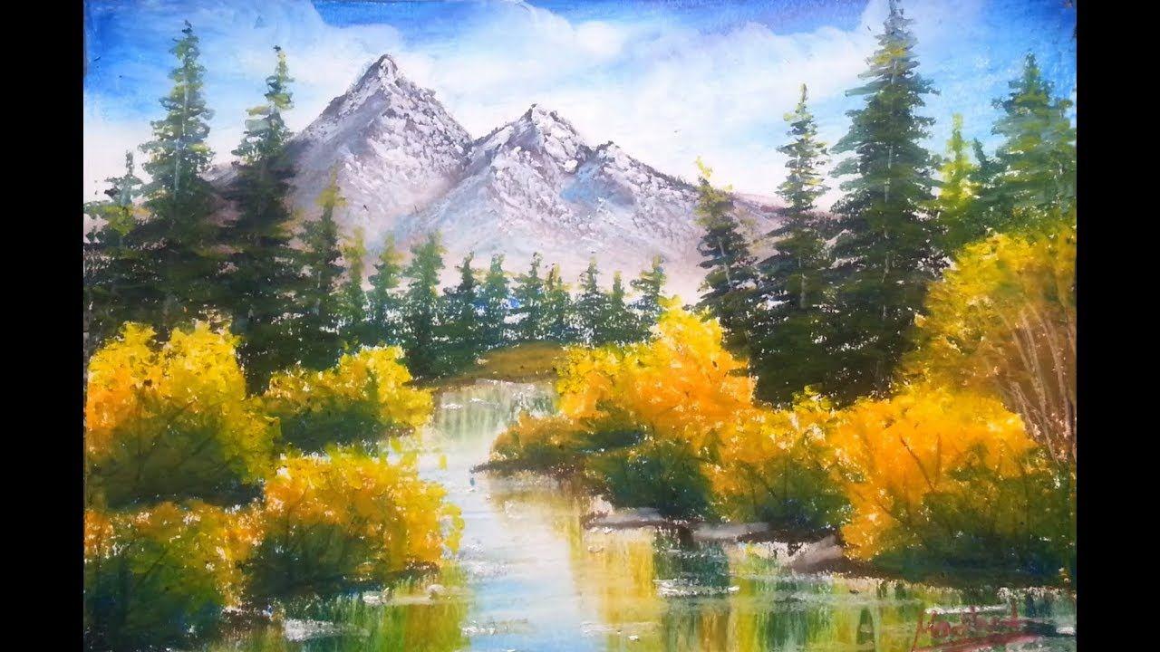 Mountain Lake Drawing Scenery Using Oil Pastel How To Use Oil Pastel In 2020 Drawing Scenery Oil Pastel Scenery Paintings