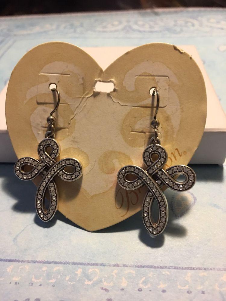 Brighton Earrings Knottingham Endless Knot Silver Crystals NWT   | eBay