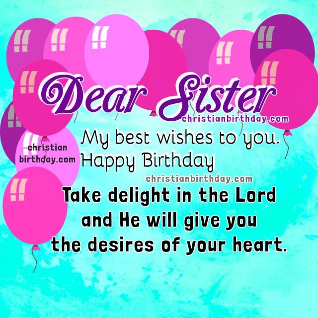 Christian Birthday Cards for my Sister. Happy Birthday