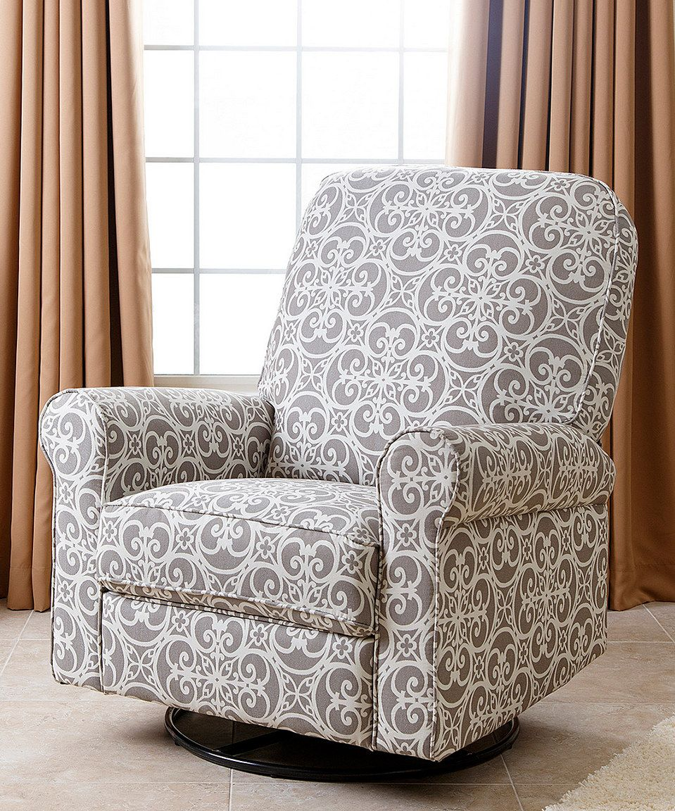 This Perth Gray Floral Bella Swivel Glider Recliner Chair by Abbyson ...