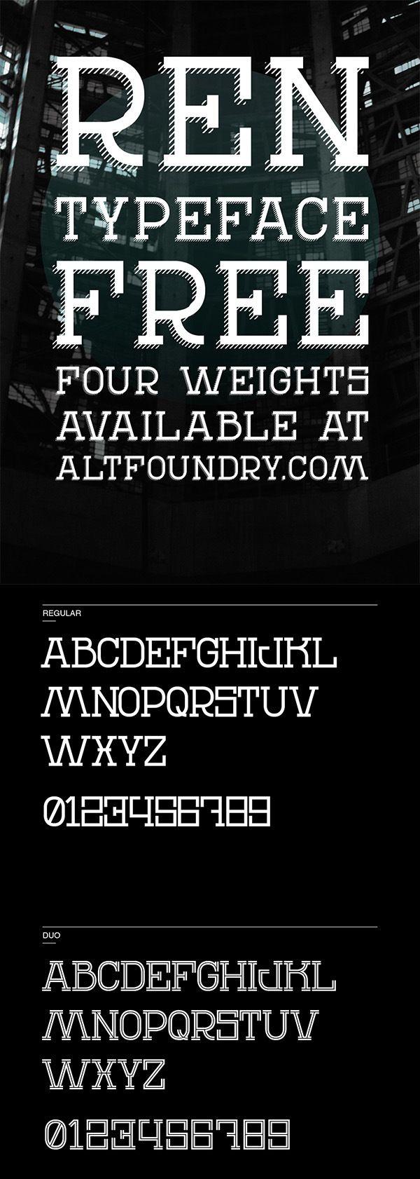 Free REN Typeface Font Typography fonts, Capital fonts