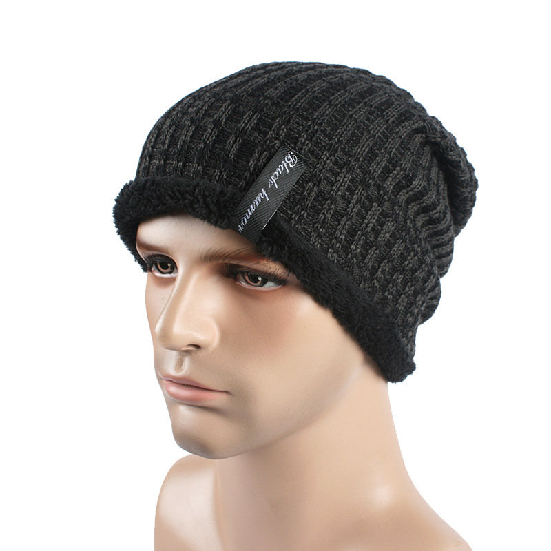 c5f7c6ecd Men Winter Thick Bonnet Knitted Caps Hat Outdoor Warm With Plush ...