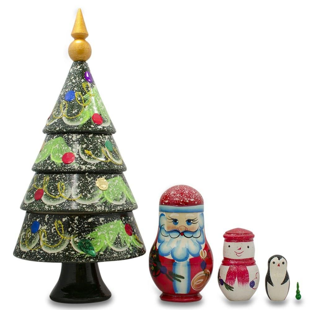 Large Tabletop Christmas Tree, Santa and Snowman Wooden
