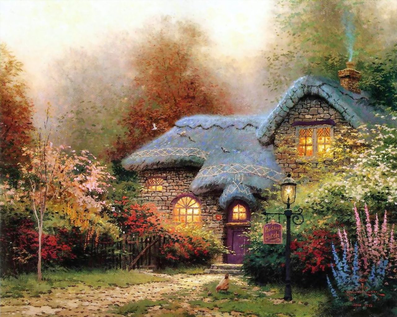English Christmas Cottage Kinkade Cottages of Love A