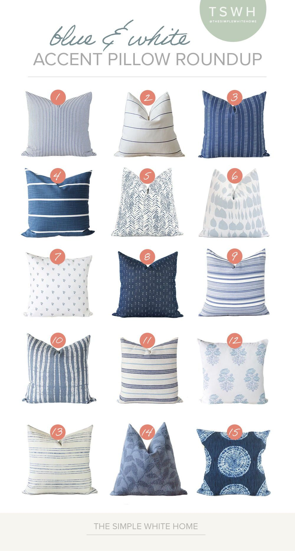 Update any space with blue and white pillows. Perfect for summer and a light and bright refresh! #affiliate
