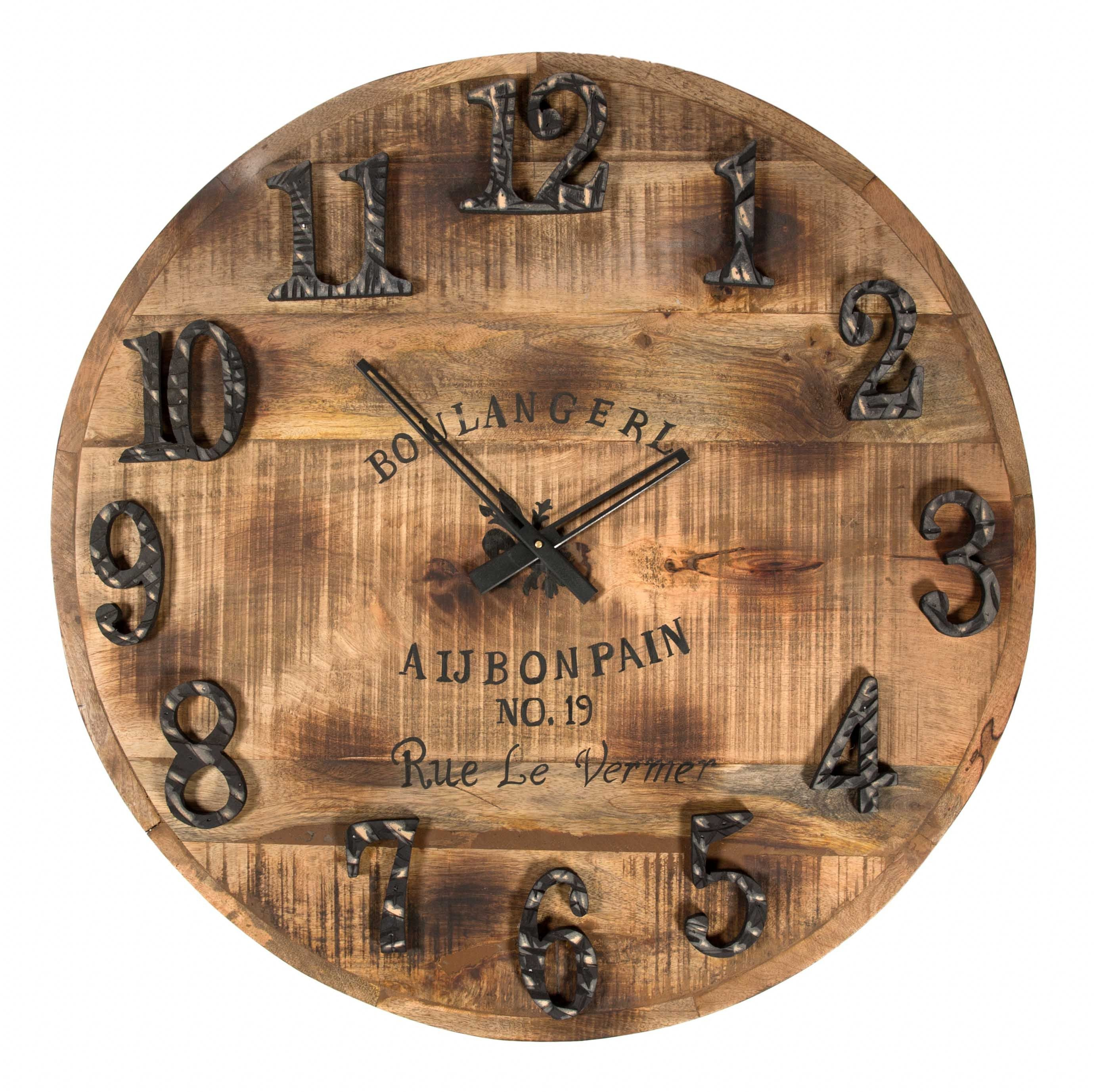Decorative Wall Clocks for Sale - Rustic Wooden Clock  This Rustic wooden clock with French writing and metal numerals will fit in with other recycled timber pieces in an industrial environment.
